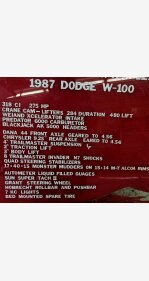 1987 Dodge D/W Truck 4x4 Regular Cab W-100 for sale 101243406